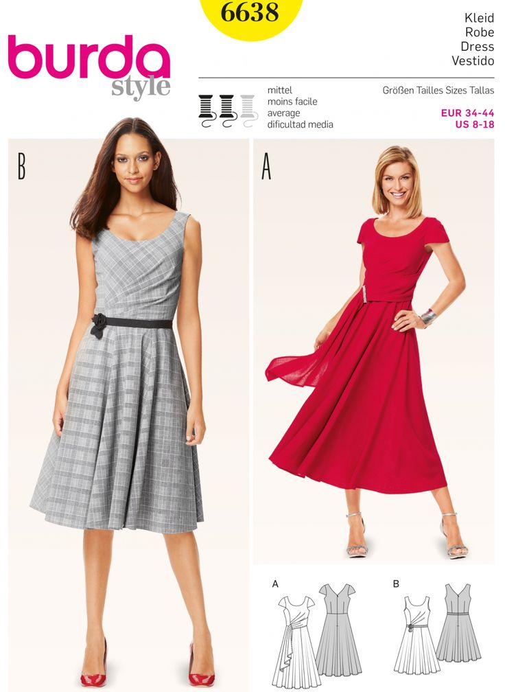 Patron Burda 6638 6638 Robe de cocktail à robe de soirée à jupe ample à décolleté dans le dos, pour femme, taille 34 à 44
