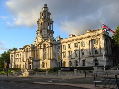 Stockport Town Hall, Stockport, Greater Manchester.  Memories of concerts and passing here when I worked in Stockport.  Also of going to the Stockport SA with Mum and Dad.
