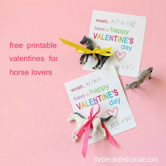 free printable valentines for the horse obsessed kid