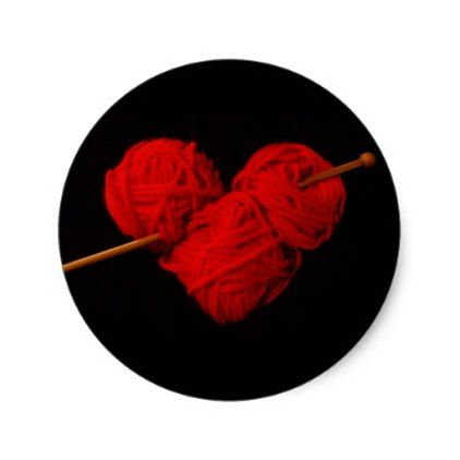 Cute wool heart with knitting needle photograph classic round sticker - original gifts diy cyo customize