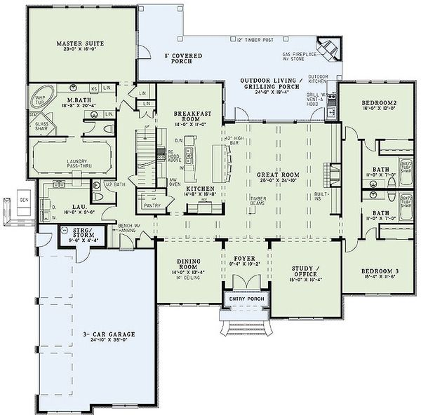 European Style House Plan – 4 Beds 4 Baths 3766 Sq…