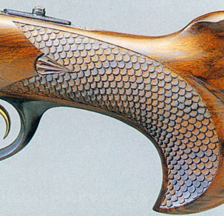 Wood gun stock carving patterns skip line checkering an