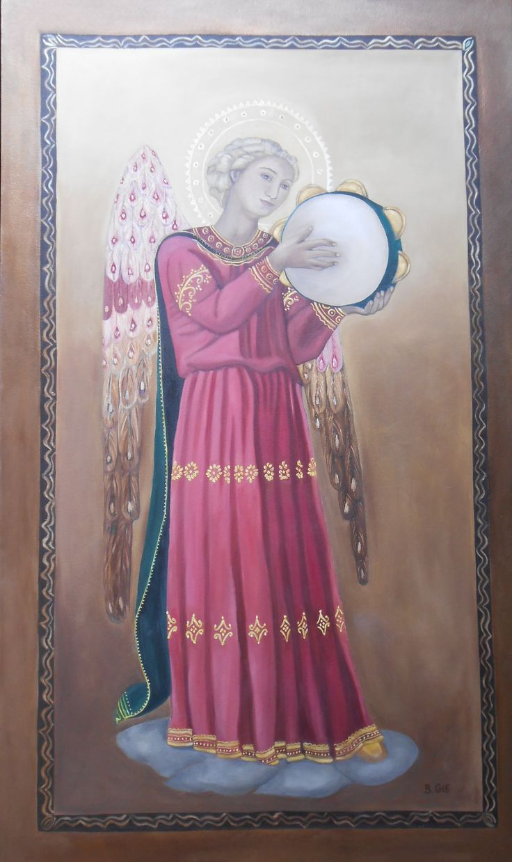 Oil Painting of one of Fra Angelico's Musical Angels painted by Bernadette Gie