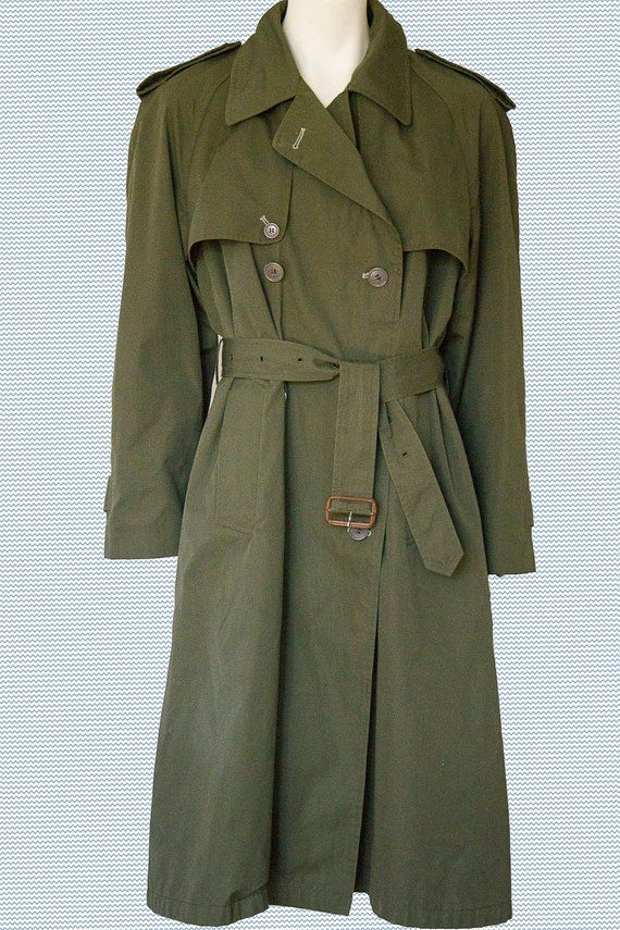 Vintage 60/'s Khaki Green Detatchable Wool Lined Trench Coat