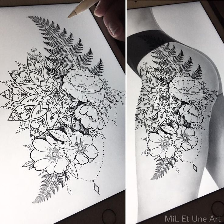"""647 Likes, 14 Comments - MiL Et Une ~ Art & Tattoo (@mi_li3_art) on Instagram: """"Floral thigh/hip design up for grabs ! Happy to tattoo this at one of my upcoming conventions,…"""""""