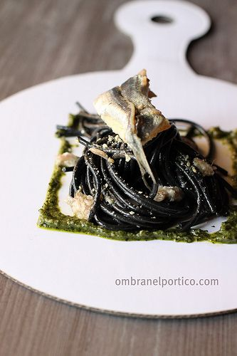 recipe: black spaghetti with sardines #pasta #food