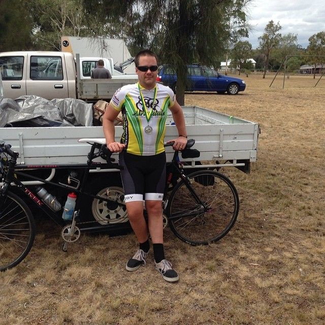 Andrew with our #NPS round 1 B1 silver. #paracycling #tandem #tandembike #blind