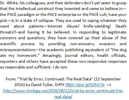 """New from @davidtuller1: """"Trial By Error, Continued: The Real Data"""" http://www.virology.ws/2016/09/22/trial-by-error-continued-the-real-data/ … #PACEtrial #PACE #MEcfs #CFS #MyalgicE #MyE #ME"""