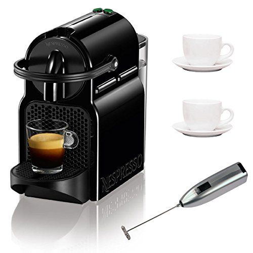 Nespresso C 40 Inissia Espresso Maker (Black) with Two 3 oz Ceramic Tiara Espresso Cups and Saucers and Knox Handheld Milk Frother >>> Click on the image for additional details. #EspressoMachine
