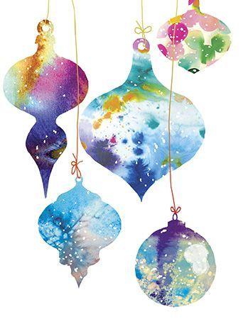 Christmas Watercolor Ornaments, holiday greeting card by Masha D'yans, expresses the spirit of the Christmas season in the prettiest of ways!