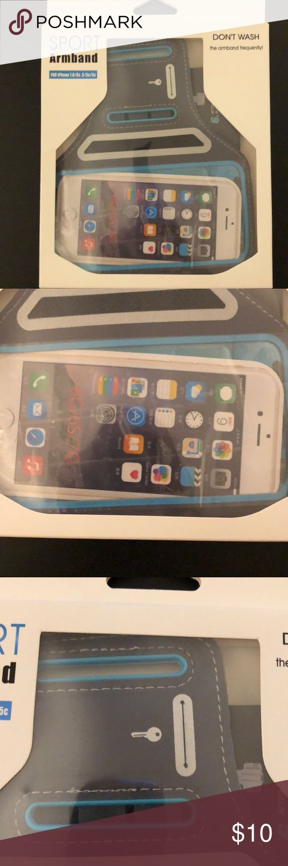 """NIB Sport Armband for IPhone 7,6/6s and 5 NIB IPhone sport armband. Compatible with 3.5""""-4.7"""" smartphones. Fully adjustable to fit arms 7""""-16"""". Sweatproof and lightweight. Built in slot for keys. Reflective strip to keep you safe during early morning/nighttime exercise DanForce Accessories Phone Cases"""
