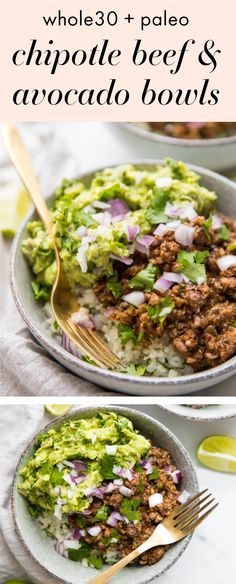 These Whole30 chipotle beef & avocado bowls are one of our favorite Whole30 Mexican recipes, loaded with veggies, protein, and healthy fats. Cilantro lime cauliflower rice topped with a saucy, smoky beef & mushroom mixture, all finished with tons of a quick guac, these Whole30 chipotle beef & avocado bowls are bound to be one of your family's favorite Whole30 Mexican recipes, too! #whole30 #paleo #chipotle #copycat #whole30recipes #mexicanfood