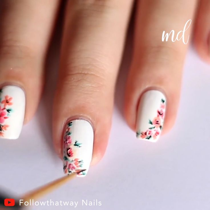 Gorgeous abstract floral art that would fit any look! Credits: @ Followthatway Nails #EasyNailArtForShortNails