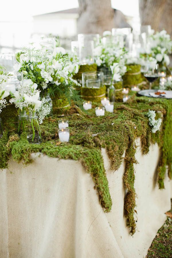 Moss covered table...great for buffet table!