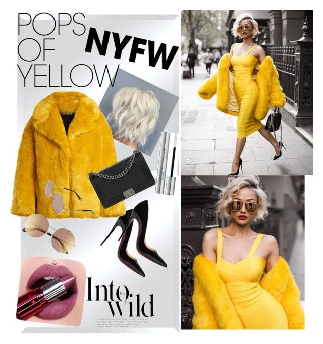 """Curvy Hips and Purple-Pinkishy Lips"" by whiteoutxxxx on Polyvore featuring Renwil, Christian Louboutin, Diane Von Furstenberg, Chanel, Givenchy, Christian Dior, Anja, PopsOfYellow and NYFWYellow"