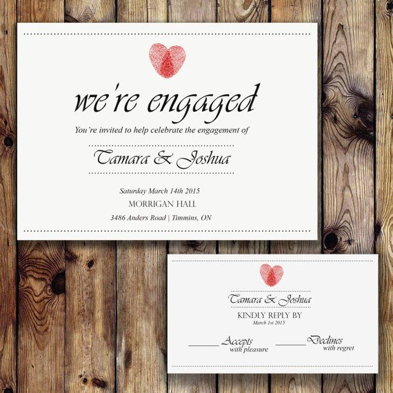 Red Thumbprint Heart Rustic Engagement Party by TwigandLeafDesigns