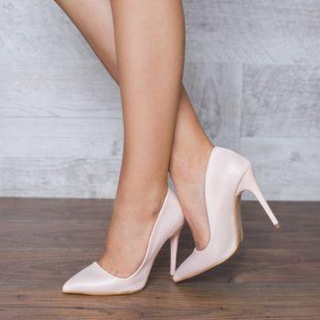 Pantofi stiletto roz pudra mat. Exteriorul este realizat din catifea. Dimensiunea tocului este de 11,5 cm