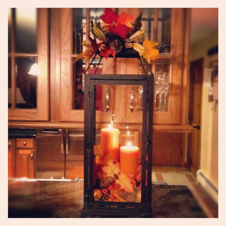 Fall Decor Ideas - good idea for kitchen table centerpiece- maybe with a little smaller lantern