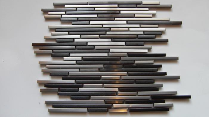 mosaic tile around Mantel Ideas | Anodized Stainless Steel Strip Mosaic Tile Wall Backsplash Metal Tiles ...