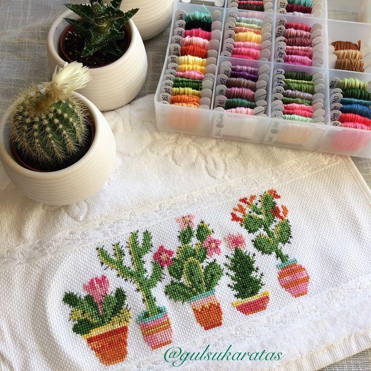 Kanaviçe havlu, etamin, kaktüs, cross stitch