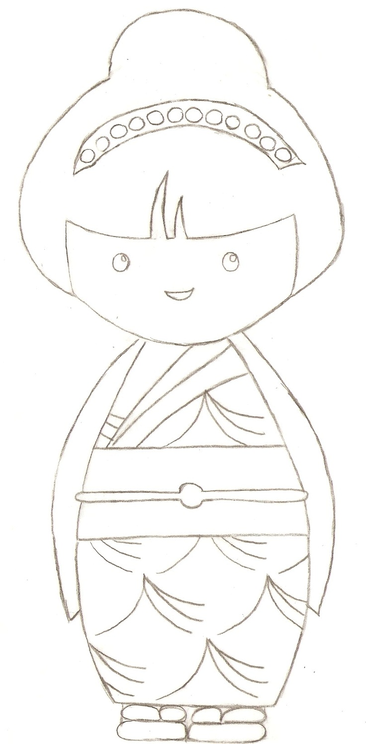 kokeshi, coloriage ------------------ Ateliers & Editions EM tel 06.11.86.92.64