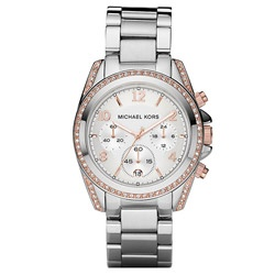 @Overstock.com - Case: Two-tone steel  Caseback: Stainless steel, screw-down  Bezel: Two-tone steel, fixed  http://www.overstock.com/Jewelry-Watches/Michael-Kors-Womens-Rose-Goldtone-Silver-Dial-Watch/6233685/product.html?CID=214117 $205.99