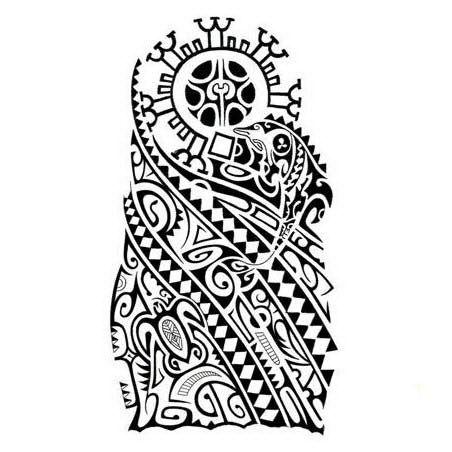 Polynesian sleeve tattoo design with turtle, whale, enata, tiki nose, etc.