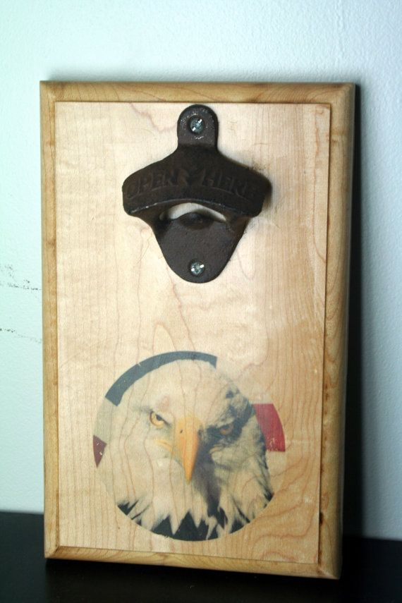 Wall Mounted Bottle Opener with Patriotic Bald Eagle Magnetic Bottle Cap Catch