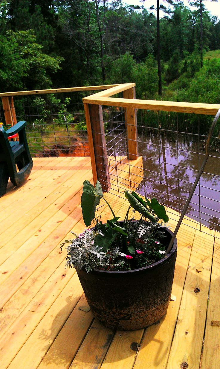 """My deck which cantilevers out over our """"Lake Virginia"""".  The wire is hog panels from the local tractor supply so the view is not obstructed."""