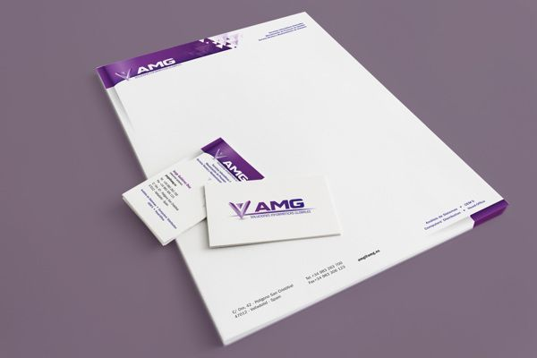 Diseño de papel carta y tarjetas para AMG
