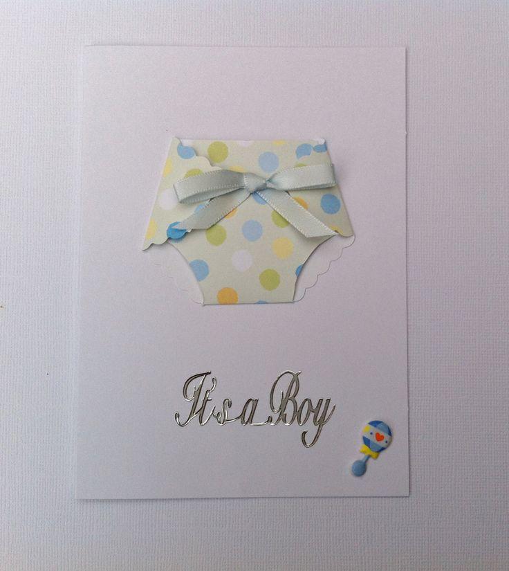 Handmade Baby Boy Card - Nappy Card - New Arrival Card - Handmade by HandmadeByLana on Etsy