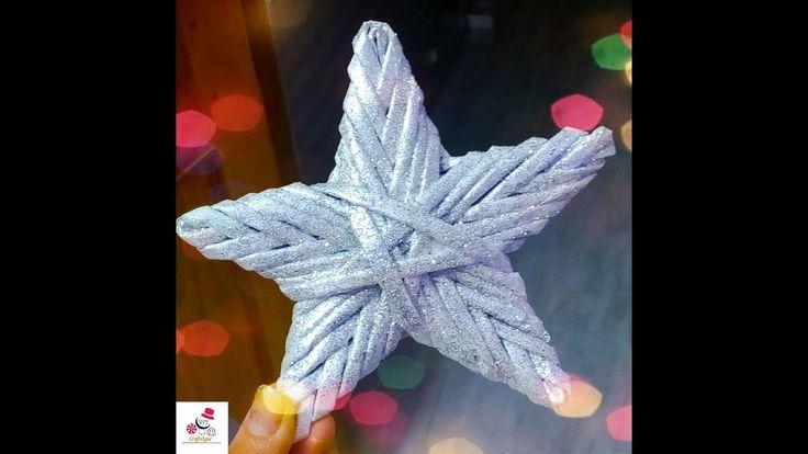 DIY Paper Wicker Star | Newspaper Weaving Star | Christmas Star Decorati...