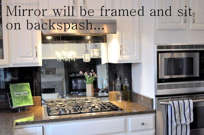 Interesting idea: use a mirror as a backslash behind stove ...