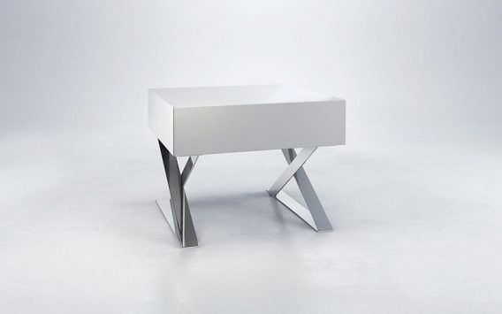 The Milford nightstand features a stylish boxy veneer top & sleek, polished steel base   Our price $279 elsewhere up to $599