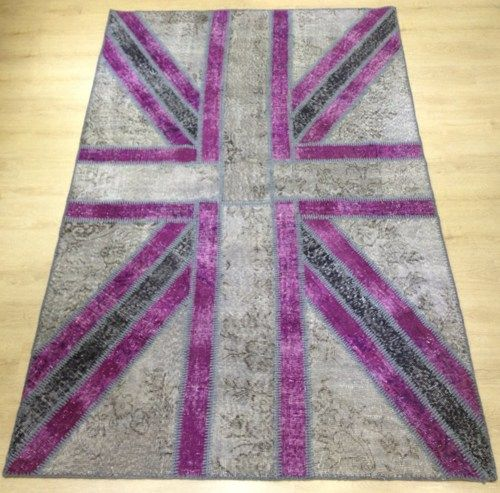 3x5 Ft (91x152) cm Gray and Purple Union Jack FLAG Design Rug | RugStore - Housewares on ArtFire