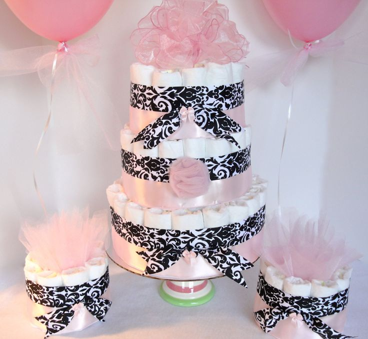 Damask+Diaper+Cake+++Light+Pink+&+Damask+by+DomesticDivaDesignz,+$85.00