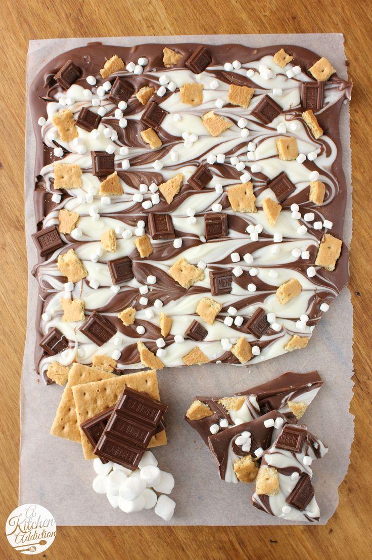 Triple Chocolate S'mores Bark Recipe l www.a-kitchen-addiction.com @akitchenaddict