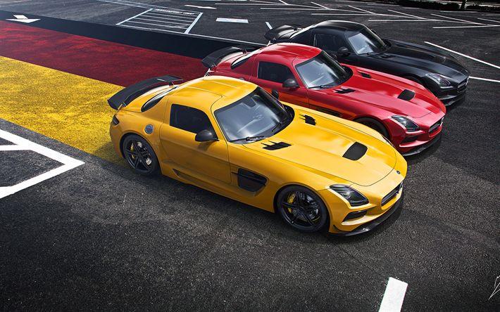 Mercedes-Benz SLS, AMG, Black Edition, flag of Germany, German flag, sports cars, Yellow SLS, Red SLS, Black SLS, Mercedes
