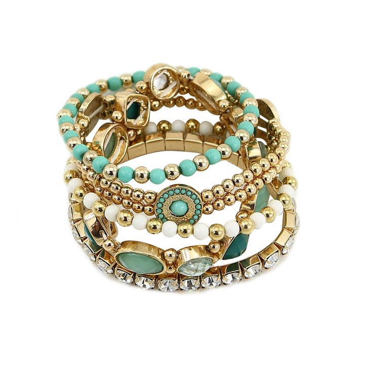 Cheap Women Chain Stacking Link Bracelets Bangle Sets 5 Fashion Jewelry Bead New #TrinketSea #Chain