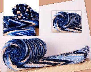 Teploučká deka z mikrovlákna v modré barvě s motivem