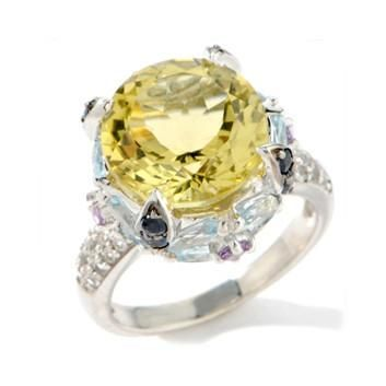 Round Lemon Quartz, Blue Sapphire, and Topaz Sterling Silver Ring