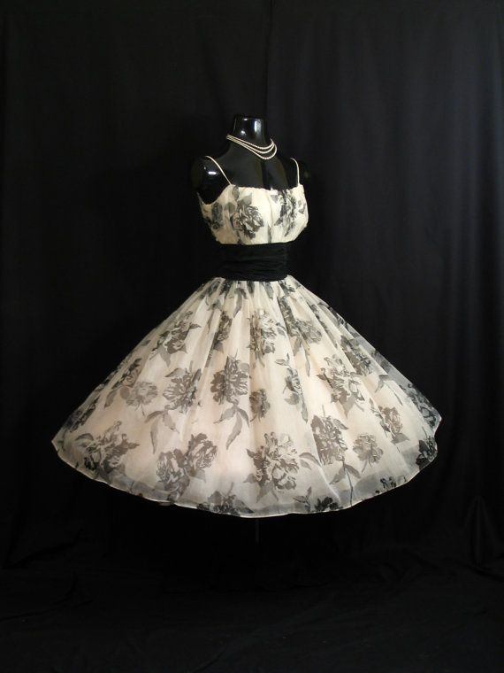 Vintage 1950's 50s Bombshell Black White Floral Print Chiffon Organza Taffeta Party Prom Wedding DRESS