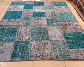 Amazing Turquoise and light blue. All handmade Turkish patchwork ruh