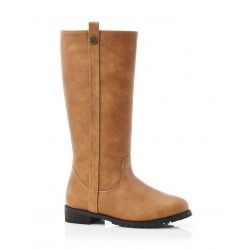 LILY LONG Boot Leather Tan Side View
