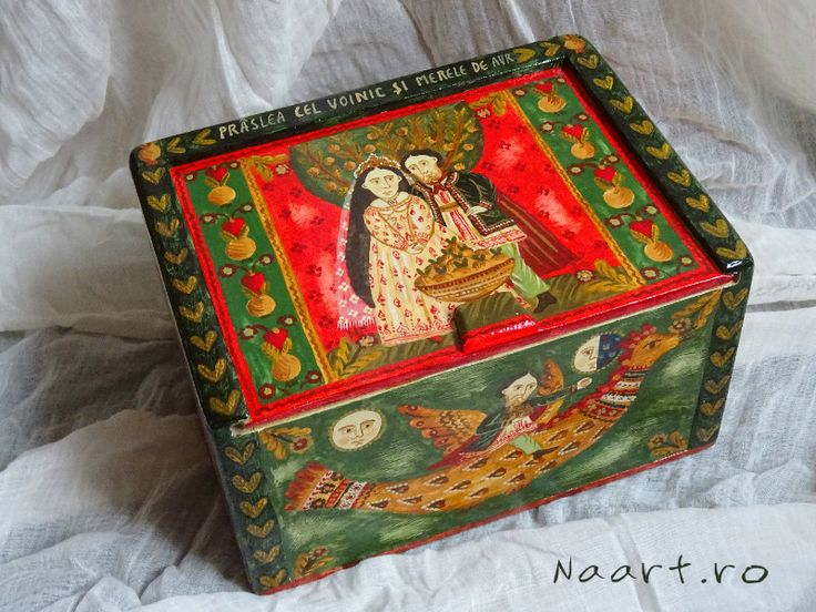 Painted wooden box! A folk tale on a box! By Naart.ro