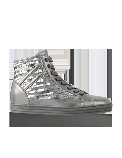HOGAN REBEL Women's Fall - Winter 2012/13 Collection: R141 High-Top leather sneakers with sequins.