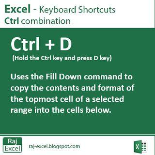 Raj Excel: Excel Shortcut Keys:  Ctrl + D (Duplicate data)