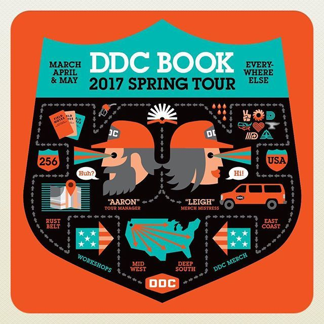 "WEBSTA @ draplin - FOR IMMEDIATE RELEASE: The DDC 2017 Spring Tour starts TODAY in Detroit at the F.O.C. Creative Summit all the way downtown! #detroit In the fall, we went ""Pretty Much Everywhere."" This time, we go ""Everywhere Else!"" #stubbornfacts @leighola77 is my co-pilot, navigator, healthy eats index and merch mistress. #thatfuckinteamwork Come see a show! Full gig list at ""draplin.com/gigs""!!! #ddc2017springtour #orangevan #loadedwithbooks #ddcmerch #goingeverywhereelse #openroad…"