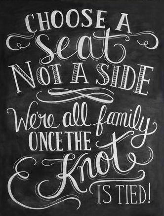 A great way to have the families get to know each other better if they don't already. Cute sign for a wedding without seating assignments #stagerightetc