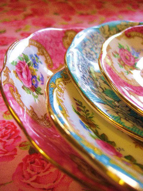 Pink and Aqua vintage saucers